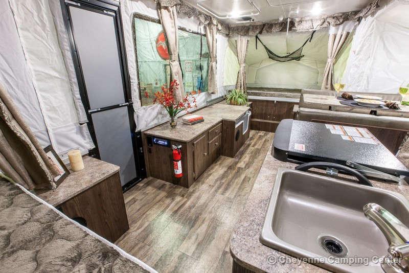 2021 Forest River Flagstaff Sports Enthusiast 23SCSE Toy Hauler Folding Camper Interior Image