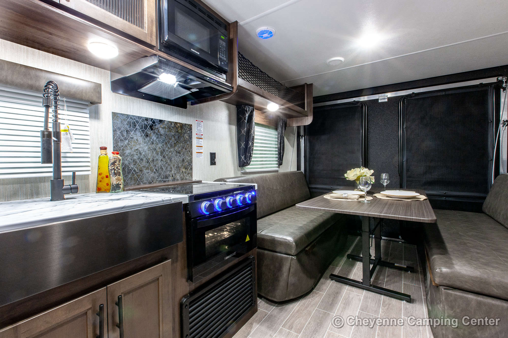 2021 Forest River Cherokee Grey Wolf 22RR Toy Hauler Travel Trailer Interior Image