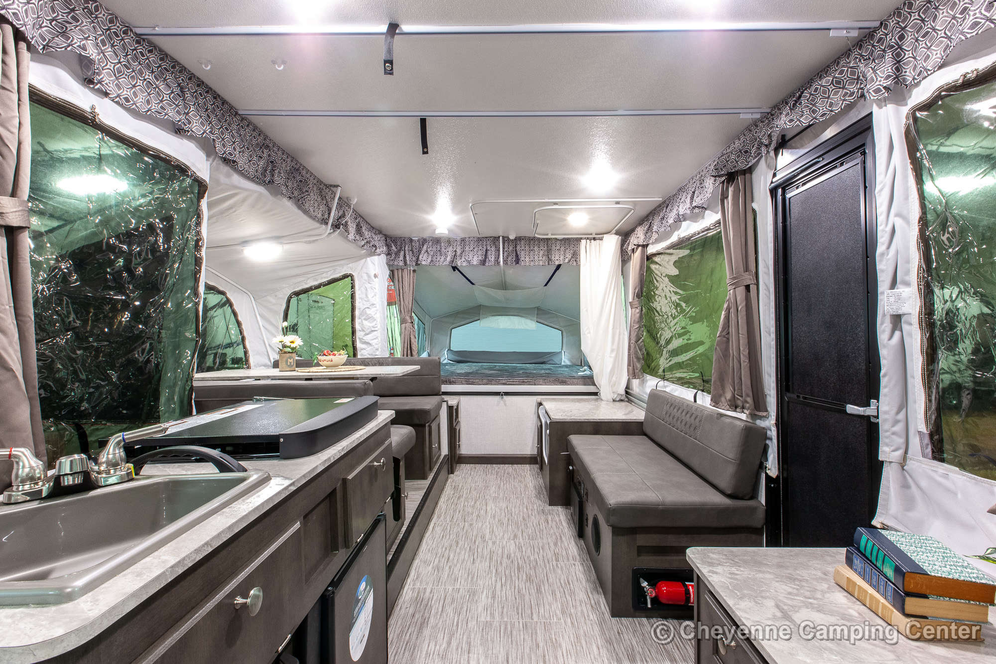 2021 Forest River Flagstaff Sports Enthusiast 28TSCSE Toy Hauler Folding Camper Interior Image