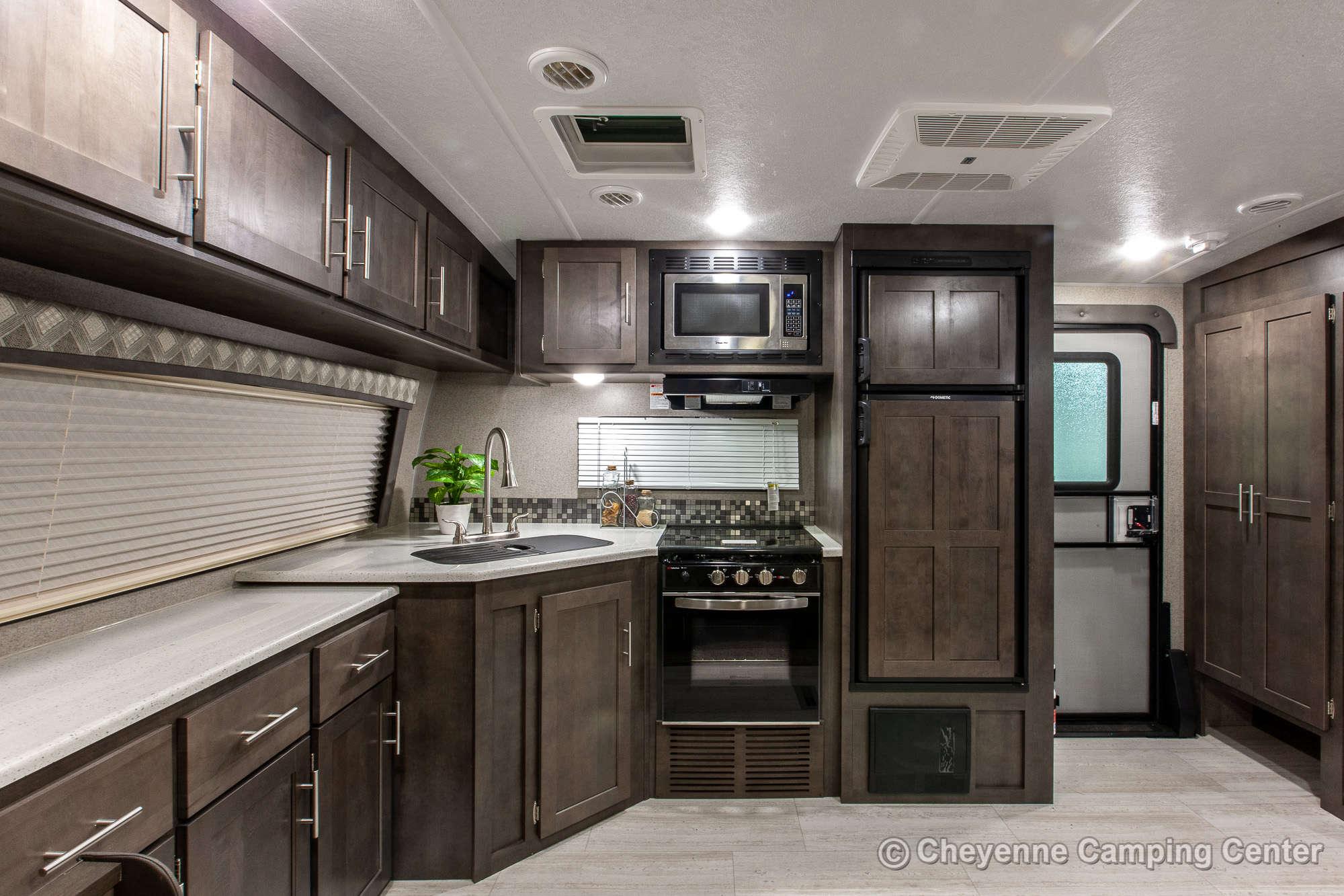 2020 Forest River Flagstaff Super Lite 26FKBS Front Kitchen Travel Trailer Interior Image