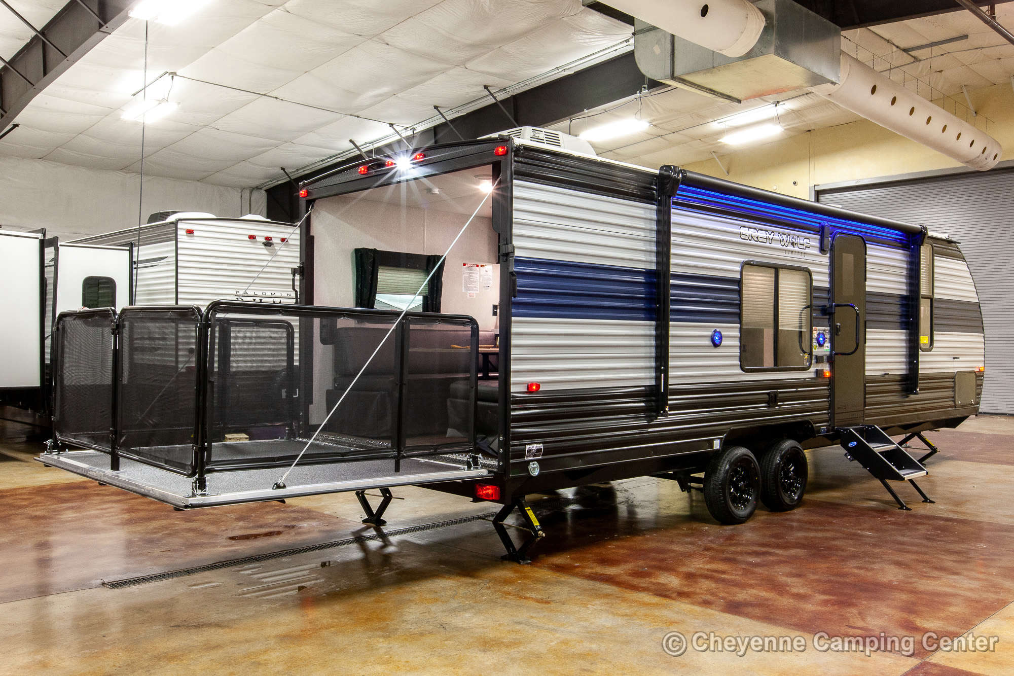 2021 Forest River Cherokee Grey Wolf 26RR Toy Hauler Travel Trailer Exterior Image