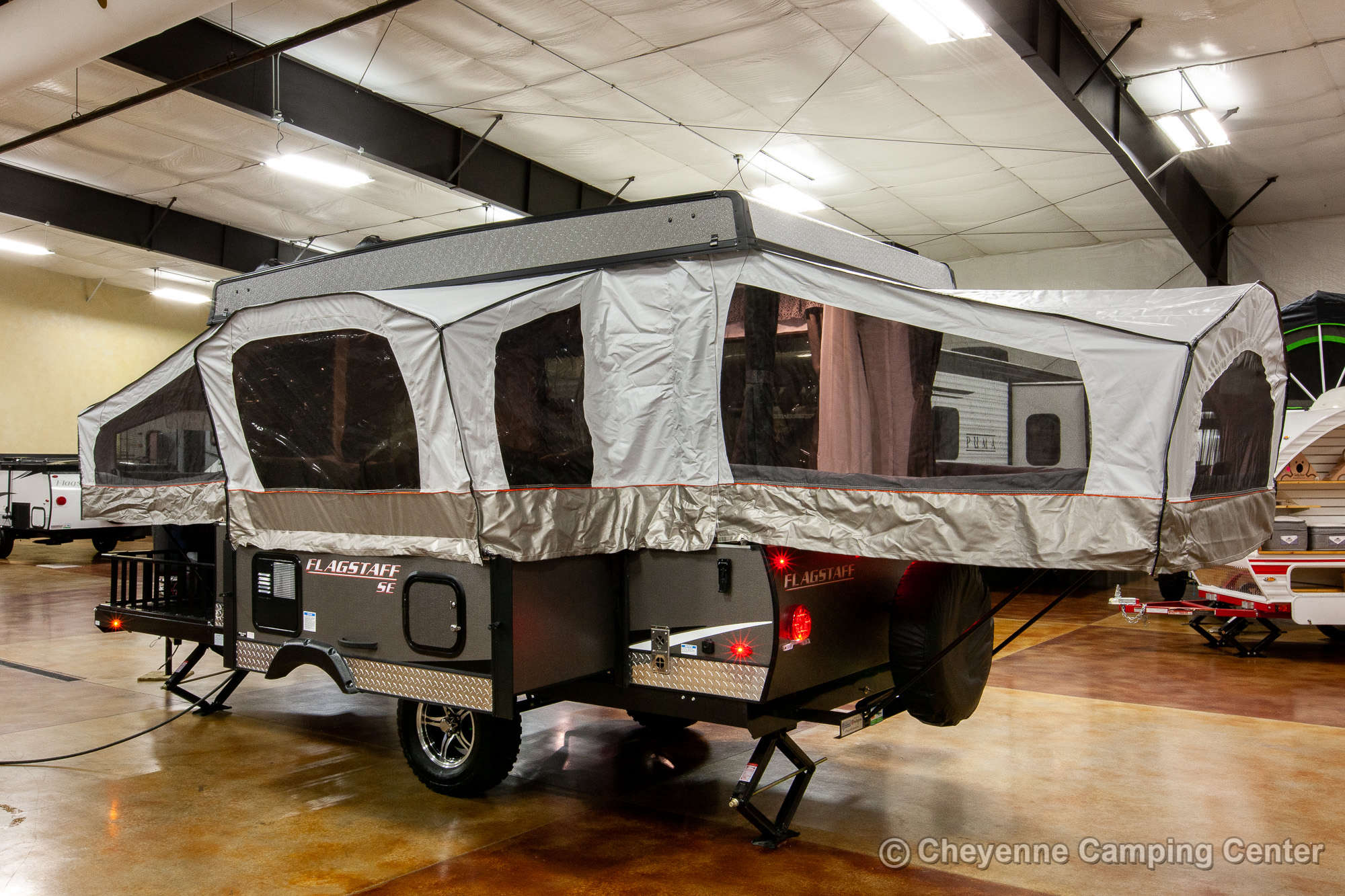 2021 Forest River Flagstaff Sports Enthusiast 23SCSE Toy Hauler Folding Camper Exterior Image