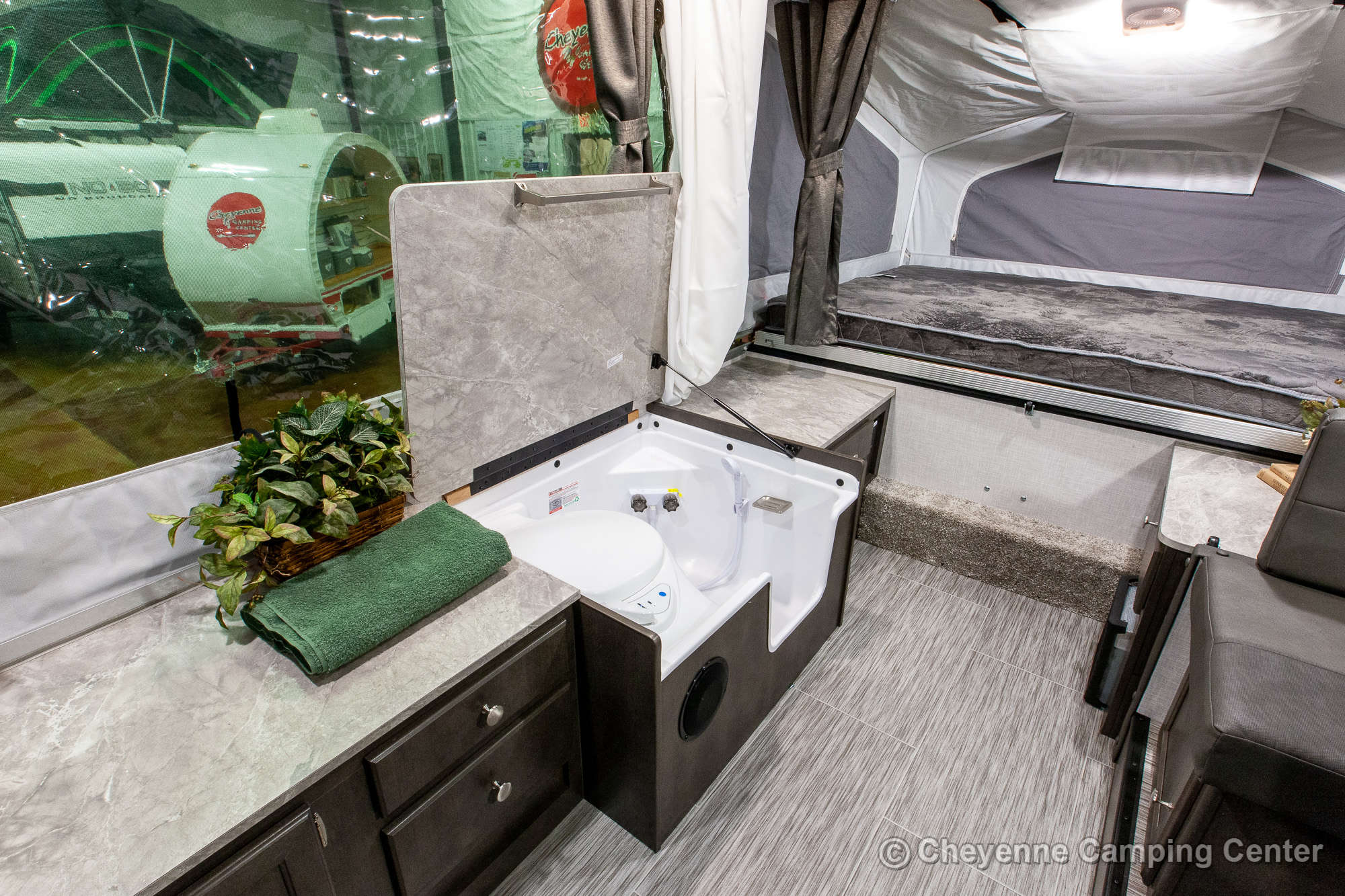 2021 Forest River Flagstaff Sports Enthusiast 23SCSE Toy Hauler Folding Camper Interior Image