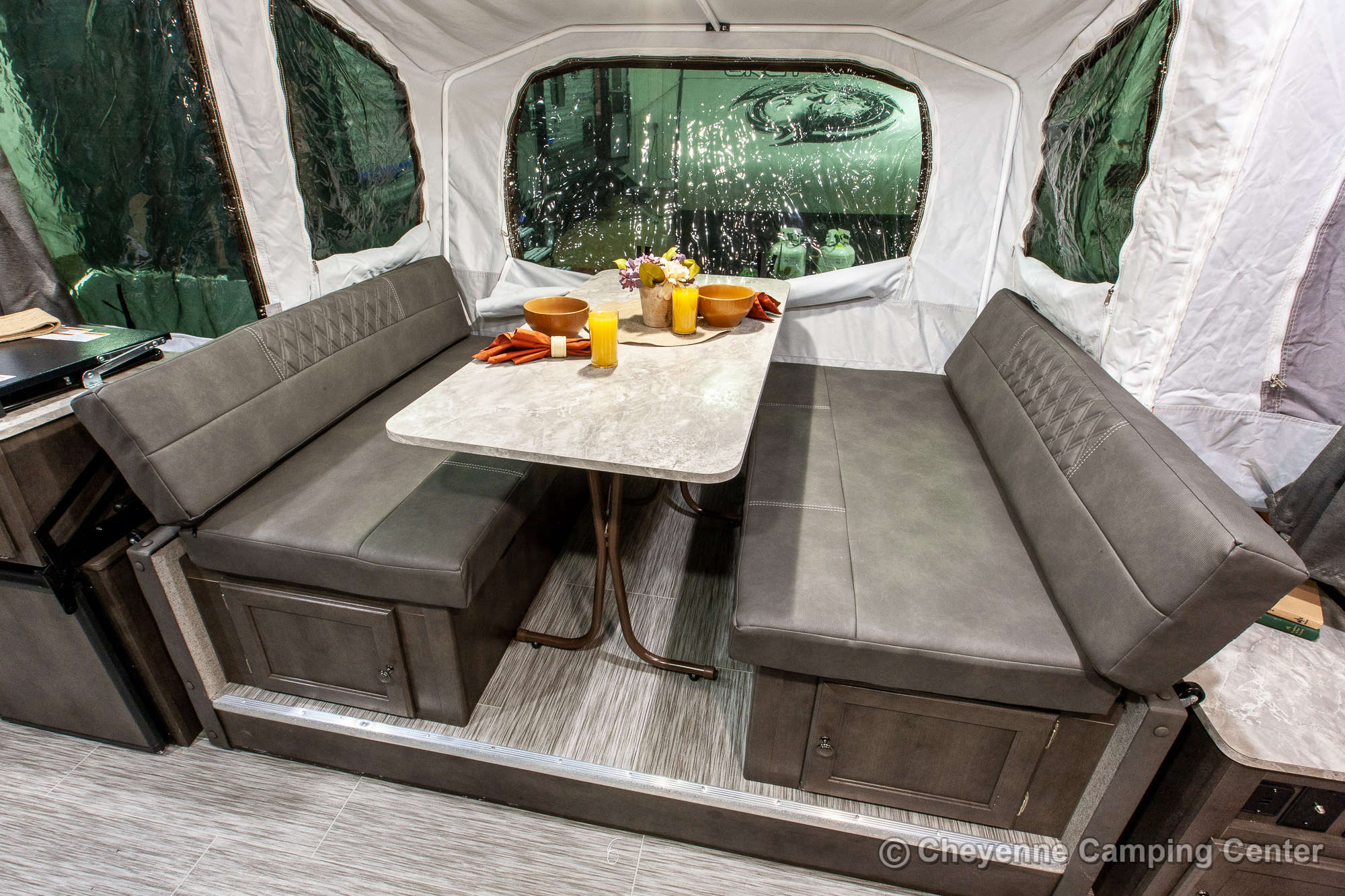 2020 Forest River Flagstaff Sports Enthusiast 28TSCSE Toy Hauler Folding Camper Interior Image